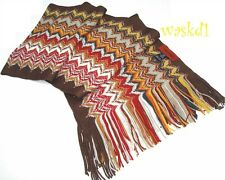 MISSONI brown SHARKTOOTH wool/acrylic Blend long FRINGED scarf IN BOX Authentic!