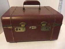 Vintage Leather Travel Train Luggage Case Cosmetic Vanity