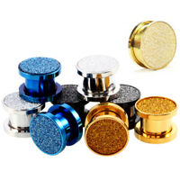 Surgical Steel Glitter Screw Double Flared Ear Plug Flesh Tunnel Stretcher Gauge
