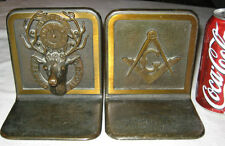 ANTIQUE BRONZE BPOE MASON ELKS LODGE MASONIC CLOCK ART DEER ANTLER HUNT BOOKENDS