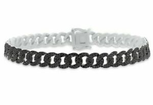 3.5Ct Black Enhanced Round Sim Diamond Men's cuban bracelet 14k White Gold Over
