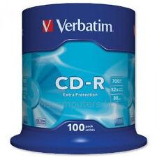 Verbatim CD-R 100 Pack Spindle 52x 700MB Blank CDs Media Disks