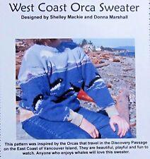 Fun Knits West Coast Orca Whale Sweater Pattern sz S-XL