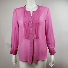 BANANA REPUBLIC Pink Sheer Long Sleeve Button Top Blouse Womens Size S Small