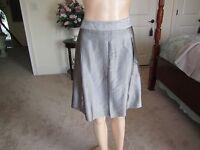 New BCBG Maxazria A Line Pleated Metallic Pewter Skirt Size 6
