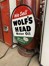 Wolf's Head Motor Oil Sign w/ Stand