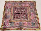 """44"""" x 43"""" Vintage Rabari Throw Embroidery Ethnic Tapestry Tribal Wall Hanging"""
