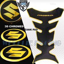 "BLACK+CHROME GOLD PRO GRIP FUEL TANK PAD+2""SUZUKI 3D LOGO FAIRING EMBLEM STICKER"