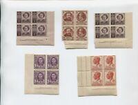 5 Sets of corner block Stamps Pre Decimal 41l2d 2d 1d 3d 1d  J-751