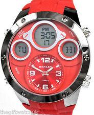 Últimas Henley Para Hombre Loco Big Red Ana-digi Deportivo Reloj Alarma Lcd Quartz Chrono