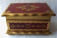 GORGEOUS VINTAGE ITALIAN STYLE TOLE FLORENTINE WOOD JEWELRY BOX - JAPAN