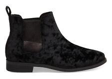 NEW TOMS Ella Ankle Boots Women's 8.5 Black Velvet Booties $98