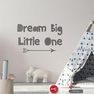 Dream Big Little One Vinyl Wall Sticker Quote Boys Girls Nursery Vinyl Decal