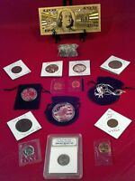 ☆JUNK DRAWER LOT>EAGLE NECKLACE☆PROOF COINS+SLAB COIN/GOLD$100/SILVER+MUCH MORE!