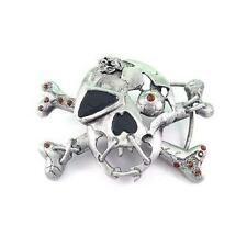 Skeleton Pirate Skull Cross Bones Tattoo Biker Rhinestone Fashion Belt Buckle