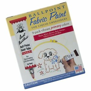 Aunt Martha's Ballpoint 8-Pack Embroidery Paint, Primary Colors