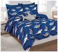 Fancy Linen Shark Light Blue Grey kids/Teens Comforter Set With Furry Buddy
