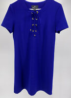 Women's Ronni Nicole Blue/Purple Lace-Up Short Sleeve Dress Size 8