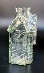 Vintage clear green -ish Glass Decanter Victorian House Castle shape Vase VGC