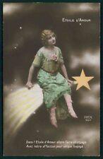 Shooting Star Meteor Edwardian Lady Glamour Fantasy vintage 1910s photo postcard