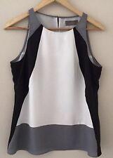 Jacqui E Top 10 Sleeveless  Lined Polyester Cream Black Grey