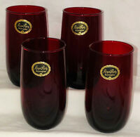 """4 Hocking ROYAL RUBY RED *5 1/4"""" - 9 OZ FLAT WATER TUMBLERS W/STICKERS*"""