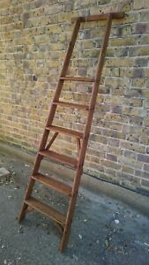 (C)VINTAGE  6 TREAD  LIBRARY / SHOP STYLE LADDER - SHELLAC SEALED & WAXED