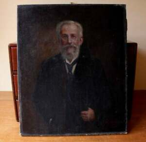 Antique Bearded Edwardian Gentleman Oil Painting. Signed French Man Picture 1910