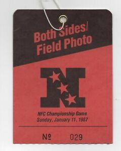 Media/Photo Credential 1986 NFC Champ - Giants vs Redskins at Giants Stadium