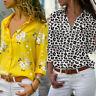 Women Long Sleeve Blouse V-neck Tops Print Shirt Casual Lady Holiday Shirts