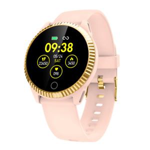 Damen Smartwatch Bluetooth Uhr Rundes Display Android iOS Samsung iPhone IP68 LG