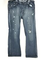 Flypaper Jeans Dark Washed Distressed Straight Bootcut Mens Denim Jeans -38x30