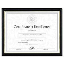 Dax Two-Tone Document/Diploma Frame Wood 8 1/2 x 11 Black w/Gold Leaf Trim