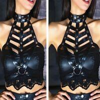 PUNK Women Faux Leather Metal Studded Chest Harness Belt Body Cage Bra Clubwear