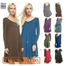 USA Women Solid V-Neck Long Sleeve A-Line Long Tunic Top Casual Swing Dress Plus
