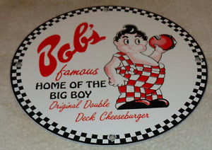 "VINTAGE ""BOB'S BIG BOY HAMBURGER RESTAURANT"" 11 3/4"" PORCELAIN METAL BURGER SIGN"
