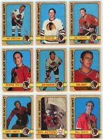 1972-73 O-Pee-Chee Chicago Black Hawks 12 Card Team Set G to EX (031220)