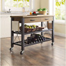 Kitchen Cart Island Table Butcher Block TV Stand Mobile Storage Wine Rack Modern