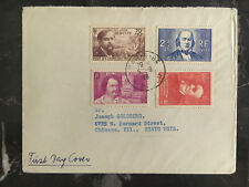 1939 Paris France First Day Cover to Chicago USA # B86 B87 B88 B89