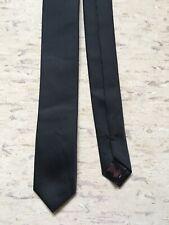 "Cedarwood State plain black skinny tie polyester 2"" wide 57"" long"