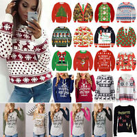 Women Christmas Xmas Hoodie Sweatshirt Ugly Sweater Pullover Blouse Jumper Tops