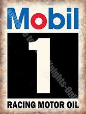 Mobil 1 Racing Motor Oil, Vintage Garage, Motorsport Advert Large Metal Tin Sign