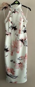 Pink Boutique White Floral Bodycon Midi Dress Size 12
