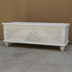 MADE TO ORDER Indian Hand Carved White Blanket Box Trunk Coffee Table Chest L