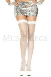 Music Legs Lace top fishnet thigh hi 4905 White
