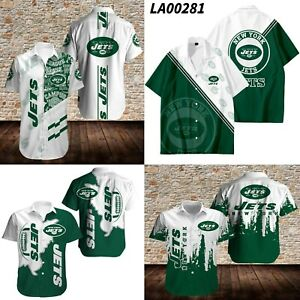 New York Jets Fan Gift's Athletic Shirts Collared Short Sleeve Button Up Shirts