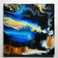 ORIGINAL Resin Kunst Acryl Gemälde Abstrakte Malerei Bild Modern Art HANDGEMALT