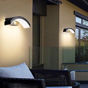 16W Outdoor PIR Motion Sensor LED Wall Light Curved Stylish Garden Lamp UK