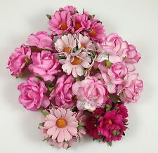 30 Pink Daisy Roses Mulberry Paper Flowers Wedding Headpiece Scrapbook ZB3-00