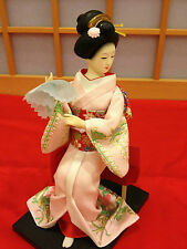 "Japanese Maiko Kimono 8"" Figure Pink Geisha Doll F/S From Japan New"